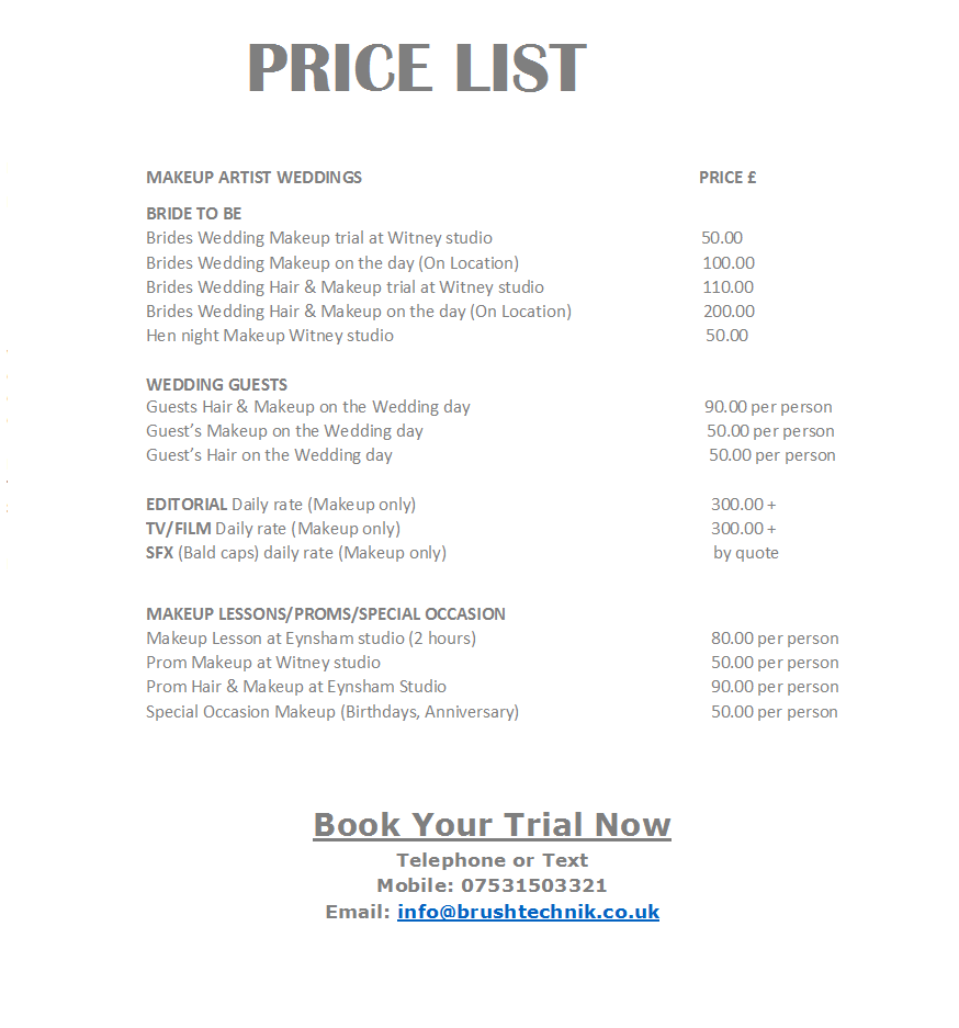 prices wedding makep oxfordshire